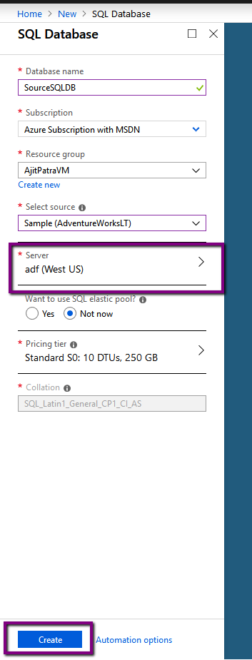 Azure: Copy data from one database to another using Azure