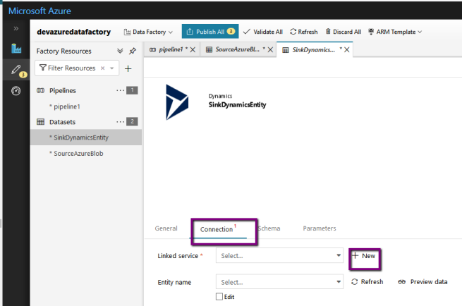 Azure: Copy Data from CSV file to D365 instance using Azure Data