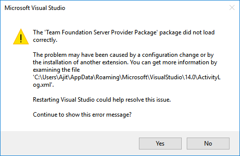 "VS 2015: The ""Team Foundation Server Provider Package"
